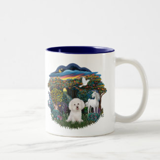 Magical WOods - Bichon Frise Two-Tone Coffee Mug