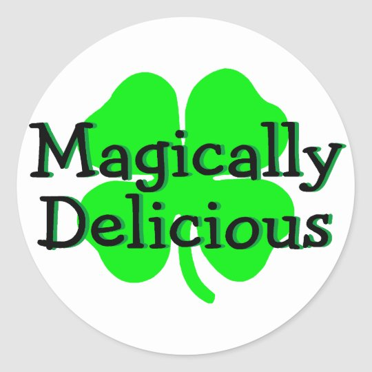 Magically Delicious St Patricks Day Clover Classic Round Sticker