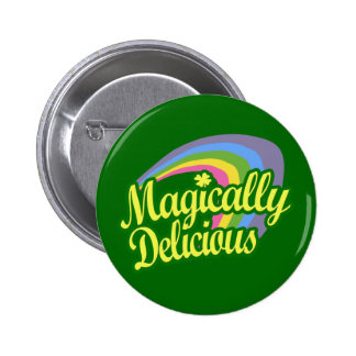 Magically Delicious, St Patricks Day Magic Rainbow 2 Inch Round Button
