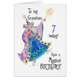 Magician 7th Birthday Card for Grandson