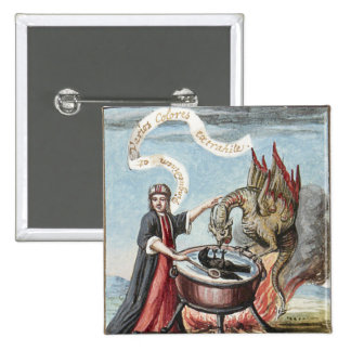 Magician and Dragon at the Cauldron of Alchemy Pins