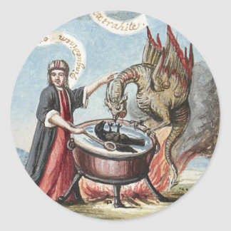 Magician and Dragon at the Cauldron of Alchemy Classic Round Sticker