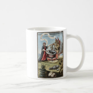 Magician and Dragon at the Cauldron of Alchemy Coffee Mug