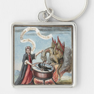 Magician and Dragon at the Cauldron of Alchemy Keychain
