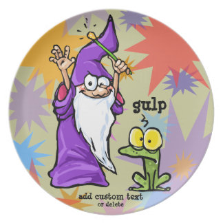 Magician and Frog Magic Fun Wizard Customize Plate