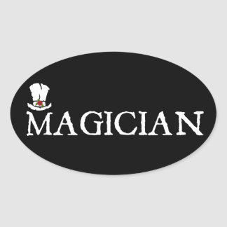 Magician and Hat Oval Sticker