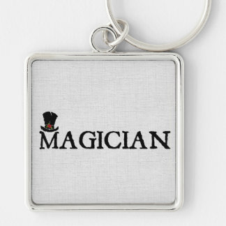 Magician and Hat Silver-Colored Square Keychain