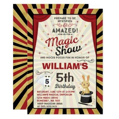 Magic Show Birthday Party Invitations Zazzlecom