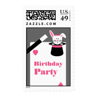 Magician Birthday Party Postage - Pink