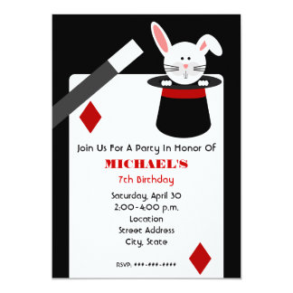 Magician Birthday - Rabbit in Hat & Playing Card