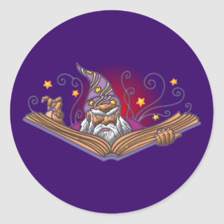 Magician book Grimoire wizard sorcerer being LOCK Classic Round Sticker