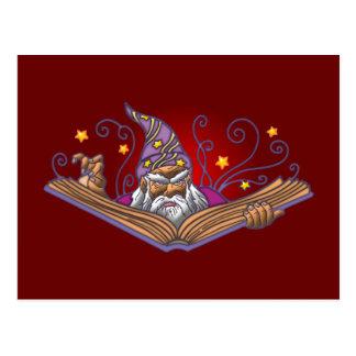 Magician book Grimoire wizard sorcerer being LOCK Postcard