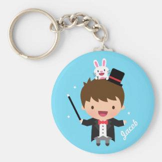 Magician Boy Magic Bunny Trick For Kids Basic Round Button Keychain