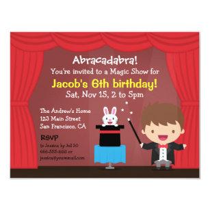 Magician Birthday Invitations Announcements Zazzle