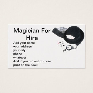 Magician for hire business card