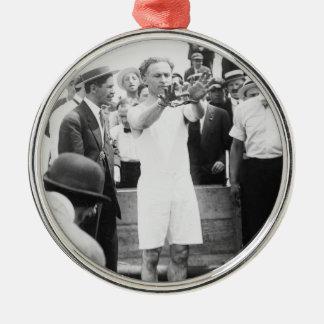 Magician Harry Houdini Overboard Box Escape 1912 Metal Ornament