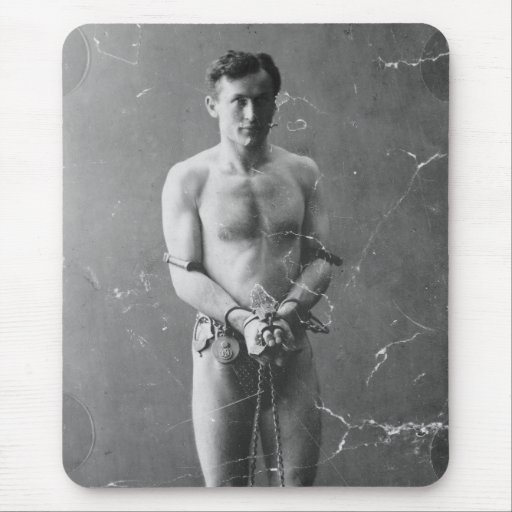 Magician Harry Houdini Standing In Chains Mouse Pad