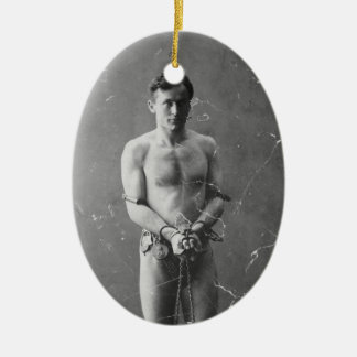 Magician Harry Houdini Standing In Chains Christmas Ornament