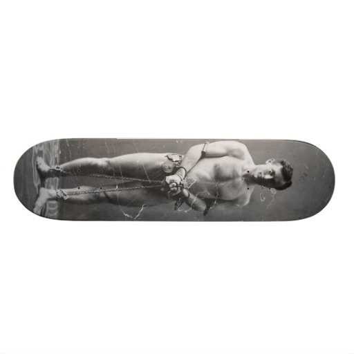 Magician Harry Houdini Standing In Chains Skateboard Deck