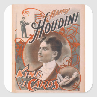 Magician Harry Houdini The King Of Cards Square Sticker