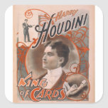 Magician Harry Houdini The King Of Cards Square Stickers