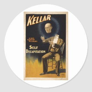 Magician Harry Kellar - self Decapitation Trick Classic Round Sticker