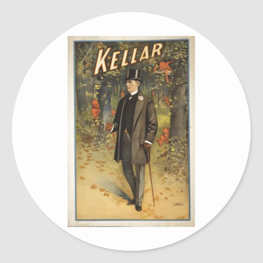 Magician Harry Kellar with Cane. Classic Round Sticker