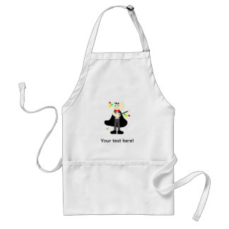 Magician in a black cape with a stick cartoon adult apron