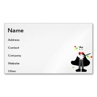 Magician in a black cape with a stick cartoon business card magnet