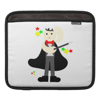 Magician in a black cape with a stick cartoon iPad sleeves