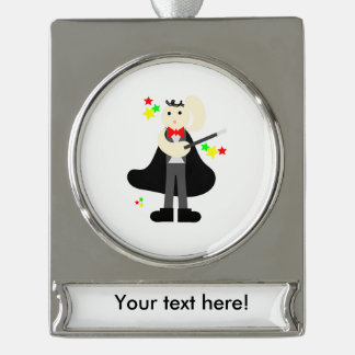 Magician in a black cape with a stick cartoon silver plated banner ornament