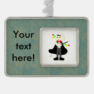 Magician in a black cape with a stick cartoon silver plated framed ornament