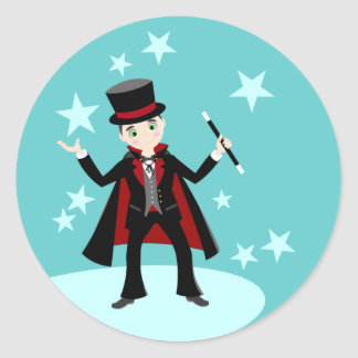 Magician kid birthday party classic round sticker