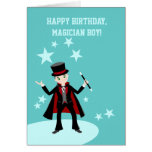 Magician kid birthday party greeting card