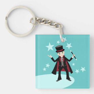 Magician kid birthday party Double-Sided square acrylic keychain