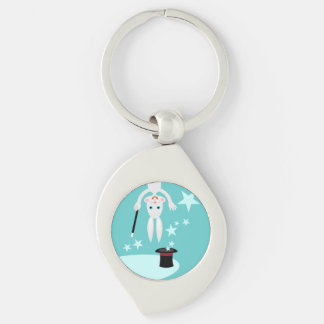 Magician Kid Birthday Party Silver-Colored Swirl Keychain