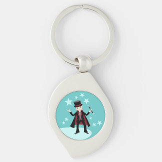 Magician Kid Birthday Party Silver-Colored Swirl Metal Keychain