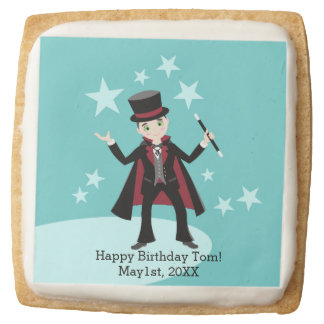 Magician kid birthday party square shortbread cookie