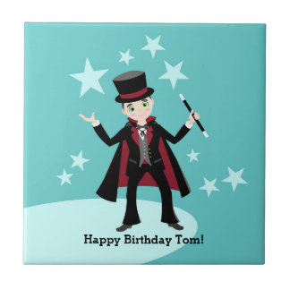Magician kid birthday party tile