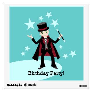 Magician kid birthday party wall skin