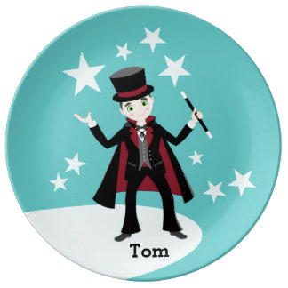 Magician kids birthday party porcelain plate