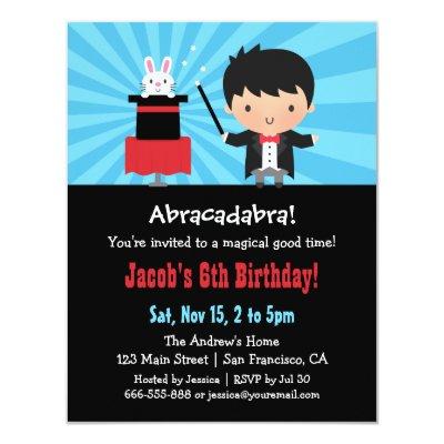 Cute Magic Hat Bunny Birthday Party Invitations Zazzlecom