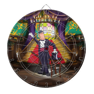 Magician performing magic trick on stage dartboard