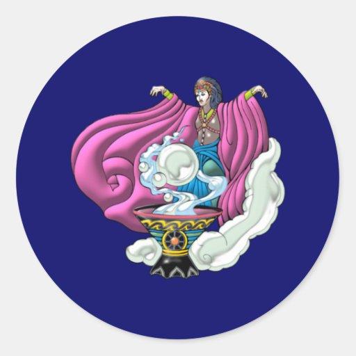 Magician sorceress classic round sticker