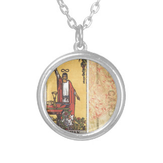 Magician Tarot Card Fortune Teller Postcard Silver Plated Necklace