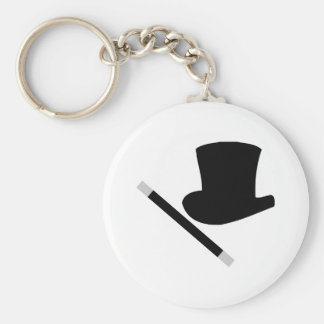 magician top hat and magic wand basic round button keychain