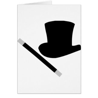magician top hat and magic wand card