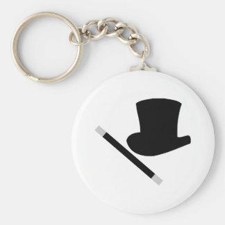 magician top hat and magic wand keychain