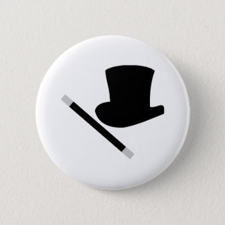 magician top hat and magic wand pinback button
