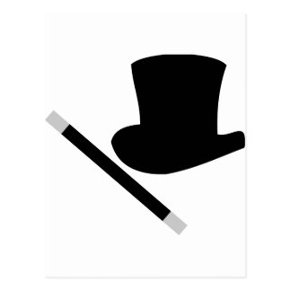 magician top hat and magic wand post cards